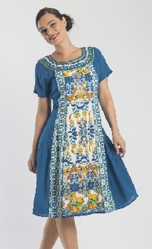 Blue Yellow Print sleeved Cotton Dress S10,12